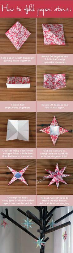 Hoe papieren sterren vouwen? Kan in allerlei kleuren; mooi om in bomen te hangen!