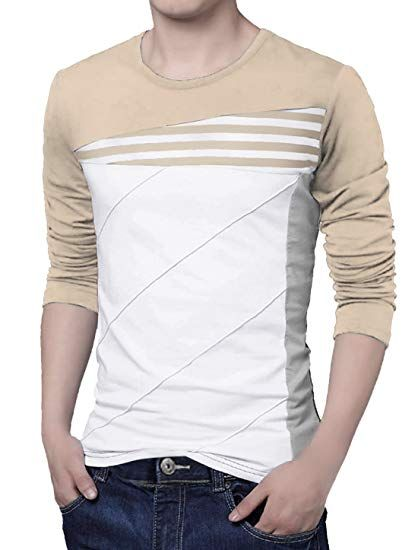 02e588a40774cf Shirts with block stripes uxcell Men Crew Neck Color Block Stripes Tee Shirt  S Beige