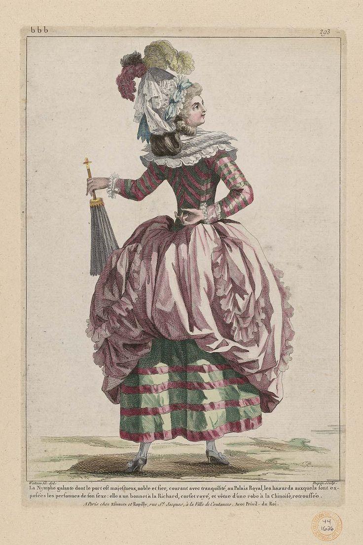 La Nymphe galante dont le port est majestueux, noble et fier, courant avec tranquilité, au Palais Royal, les hazards auxquels sont exposées les personnes de son sexe; elle a un bonnet à la Richard, corset rayé, d'une robe à la Chinoise, retroussée. 1785