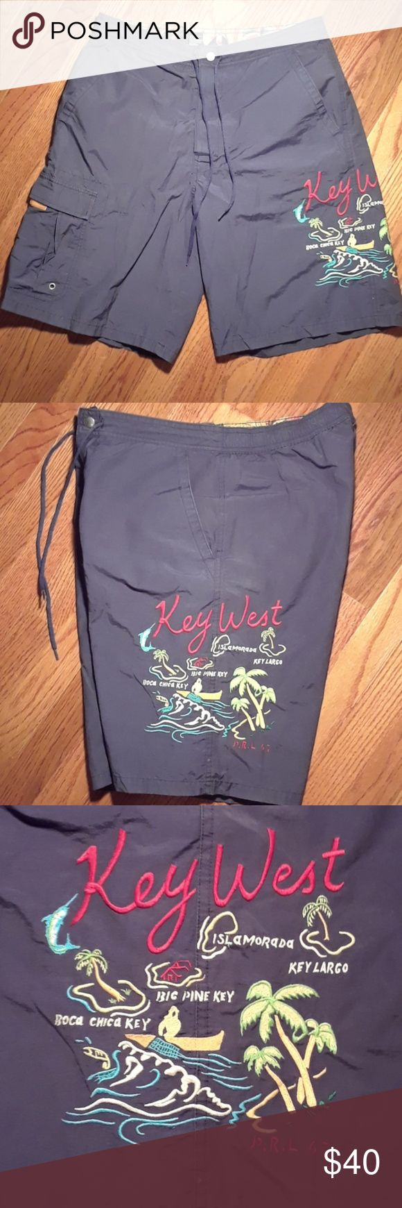 """Vintage Polo Sport Key West Fl  Swim Trunks In great Condition.  Tag says """"s"""" but 100% men's Large features map of Key West Fl. And Cargo Pocket Ralp Lauren Vintage Polo Sport Polo by Ralph Lauren Swim"""