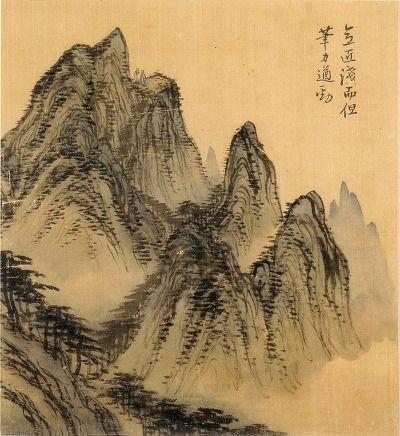 (Korea) 委曲, 1749 사공도시품첩 by Gyeomjae Jeong Seon. color on silk.