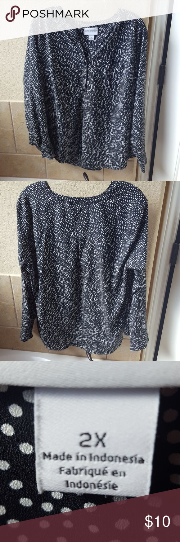 Long sleeve polka dot blouse Excellent used condition. Button sleeves and a couple of button on the neckline. No flaws. Pure Energy Tops Blouses