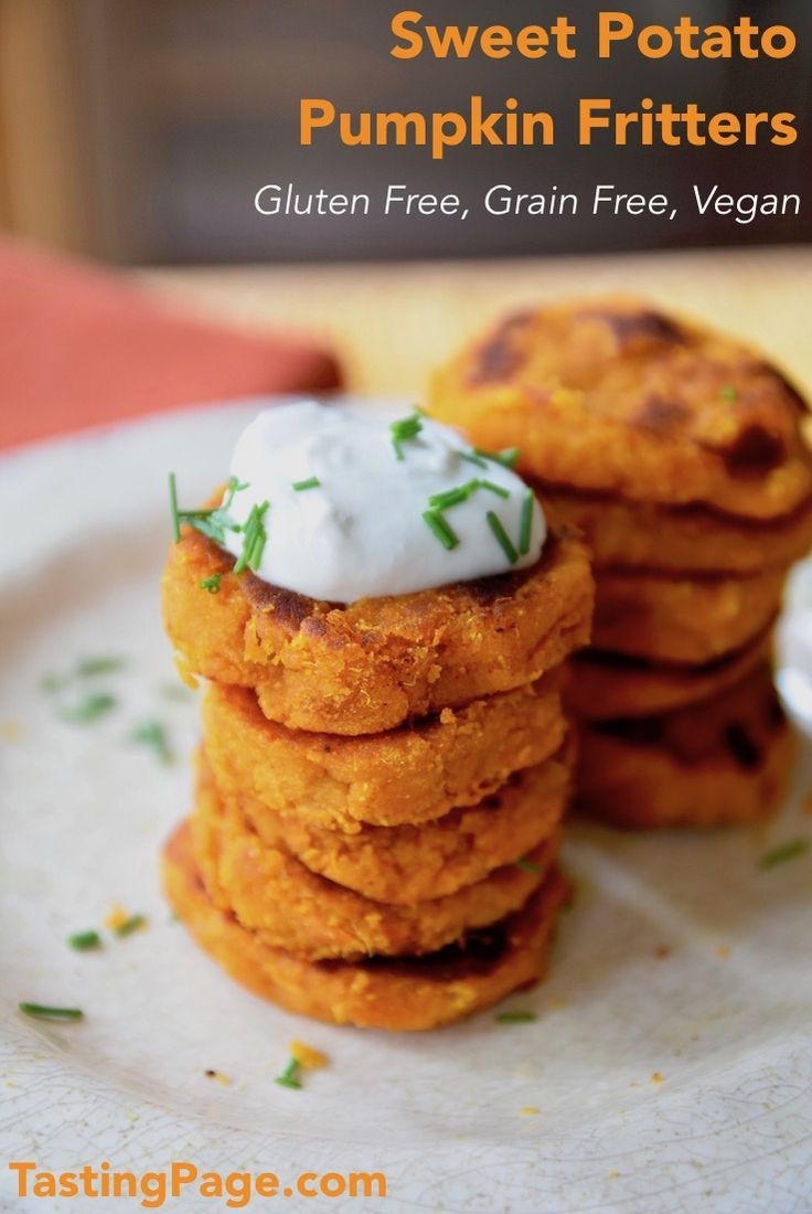 Jump into festive fall flavors with these sweet potato pumpkin fritters. They're gluten free, grain free and vegan | TastingPage.com #paleo #grainfree #glutenfree #vegan #pumpkin #fritters