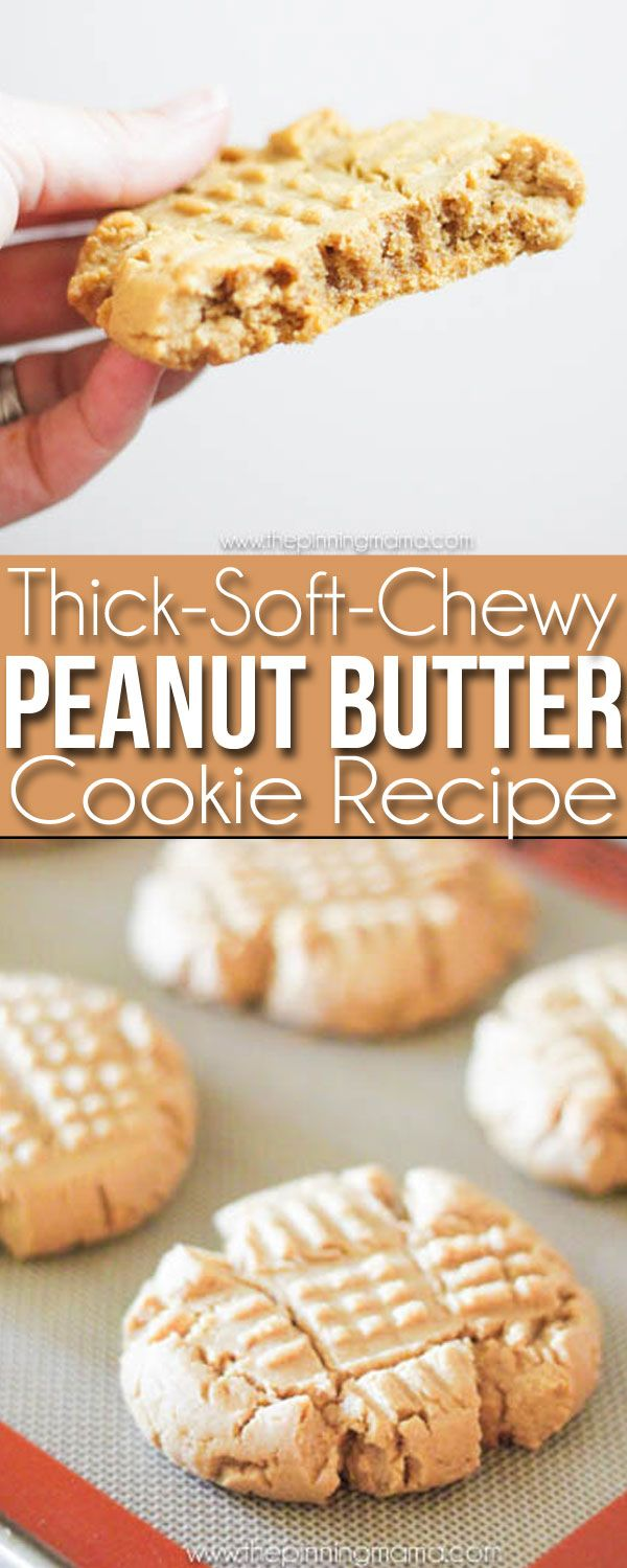 Soft Chewy Thick Peanut Butter Cookies Recipe - You will never make another recipe again!  These are SO SO SO good! (Sweet Recipes Peanut Butter)