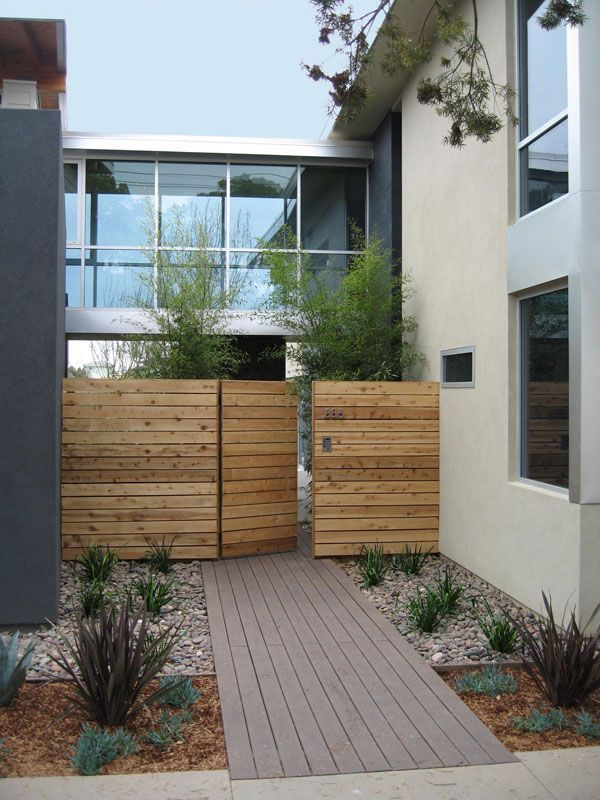 modern wood front fence and gate More