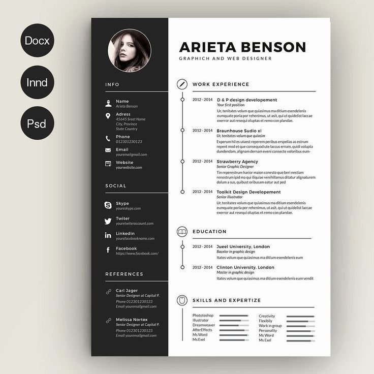 Clean And Modern Black And White Resume And Cover Letter Template For Microsoft Word Infographic Resume Indesign Resume Template Downloadable Resume Template