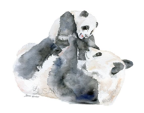 Perfect for a nursery or just about any room in the house for that matter.  Mother and Baby Pandas watercolor painting giclee print! (the original