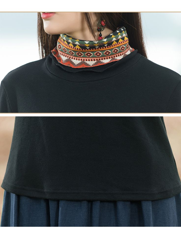 Ethnic Turtleneck Patchwork Printing Long Sleeve Slim Women Shirt