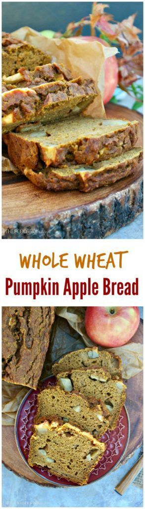 Whole Wheat Pumpkin Apple Bread with spices and chunky apple slices.  This warm fall bread makes great mini loafs for gift giving. #Pumpkin #Bread #Apple
