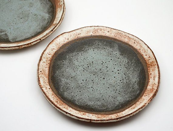 This rustic dinner plate has been hand formed, by me, from earthy, textured stoneware clay. After bisque firing it has been glazed, by hand, in