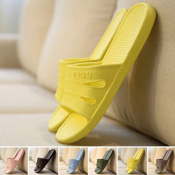 Women Men Summer Slippers Indoor Anti-Slip Scuff Sandals Household Bathing Shoes