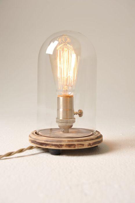 Bell Jar Table Lamp - love the Edison bulb!
