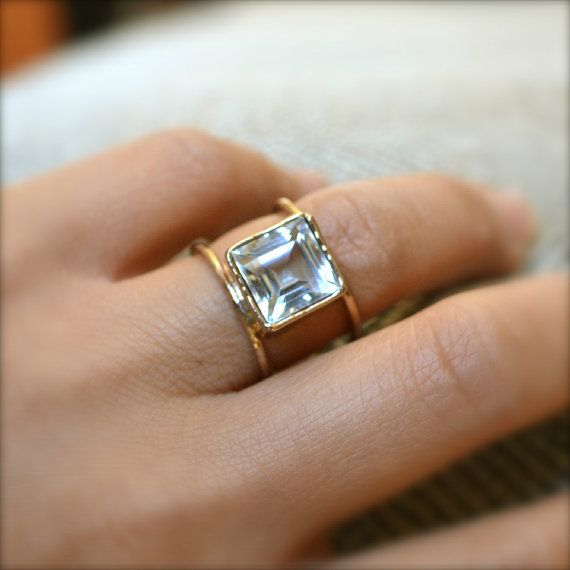 Double Wheel Gold Ring With Square by illuminancejewelry on Etsy, $65.00