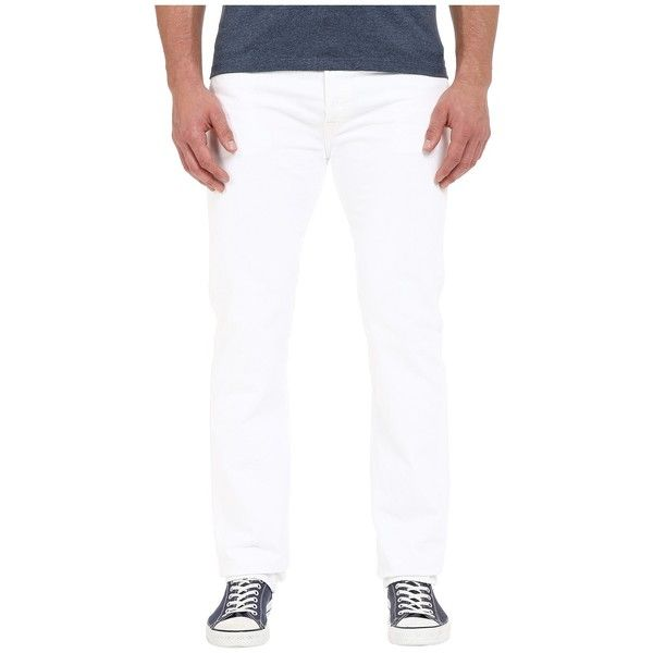 Levi's   Big & Tall Big Tall 501 Original (Optic White) Men's Jeans ($50) ❤ liked on Polyvore featuring men's fashion, men's clothing, men's jeans, mens big and tall jeans, levi mens jeans, mens jeans, mens straight jeans and mens button fly jeans