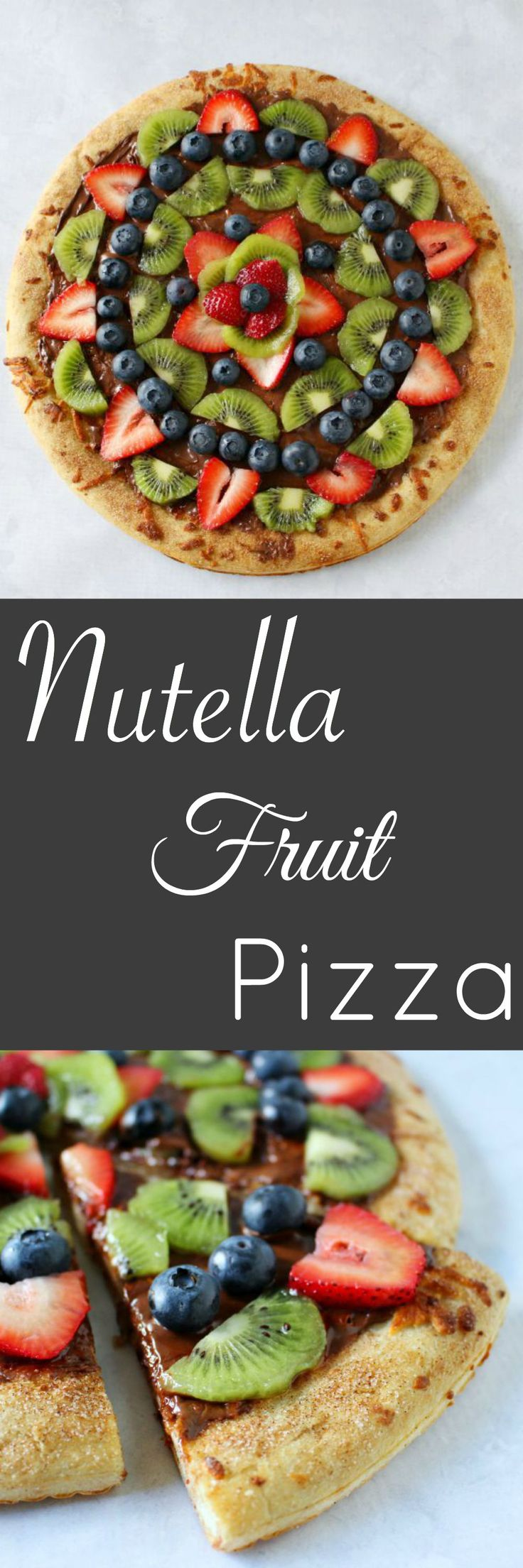Nutella Fruit Pizza - with a cinnamon sugar crust! Perfect for summer parties!