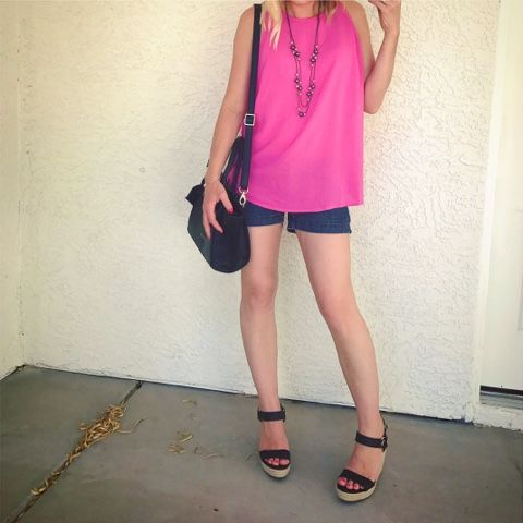 Thrifty Wife, Happy Life- shorts with pink tank top and wedge sandals- summer look