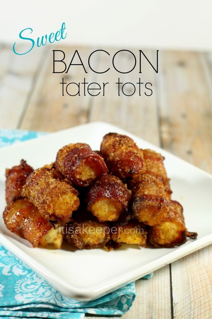 Sweet Bacon Tater Tots on MyRecipeMagic.com. Not sure about this but am willing to try it.