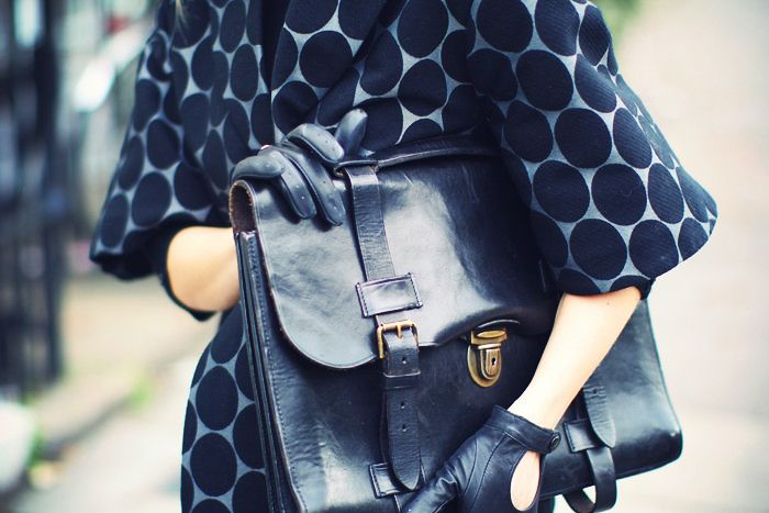 spotted: Polka Dots, Fashion Clothing, Woman Accessories, Leather Clutches, Woman Briefca, Gloves, Vintage Bags, Black Leather Bags, Coats