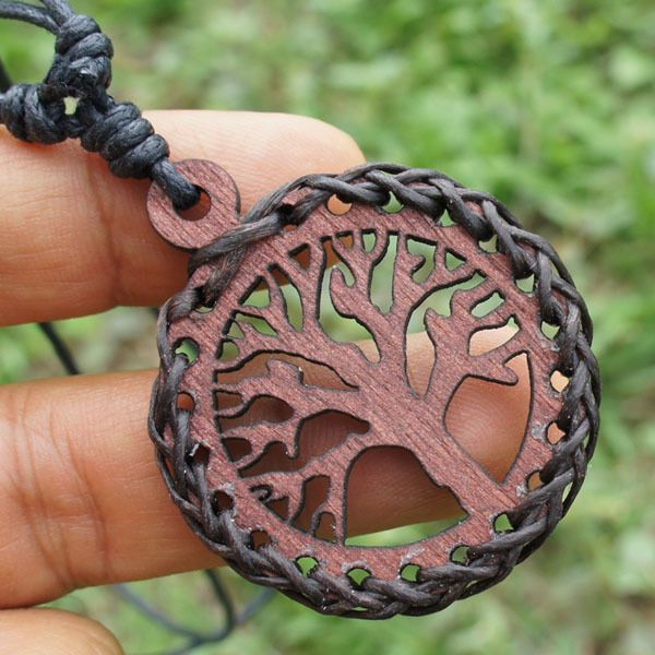 Pagan Celtic Wooden tree of life pendant W Black Slip knot Cotton Rope Necklace #MadeinThailand #Pendant