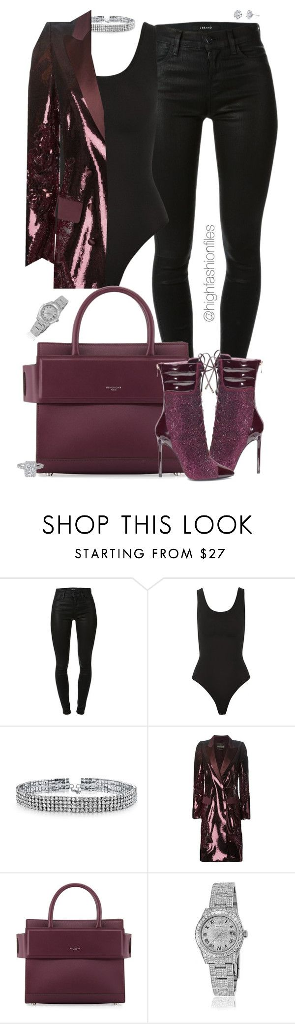 """""""Untitled #2647"""" by highfashionfiles ❤ liked on Polyvore featuring J Brand, Yummie by Heather Thomson, Bling Jewelry, Roberto Cavalli, Givenchy, Rolex and Harry Kotlar"""