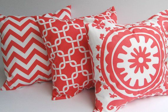 Coral chevron throw pillow covers set of three by ThePillowPeople, $48.00 - LOVE coral and patterns!