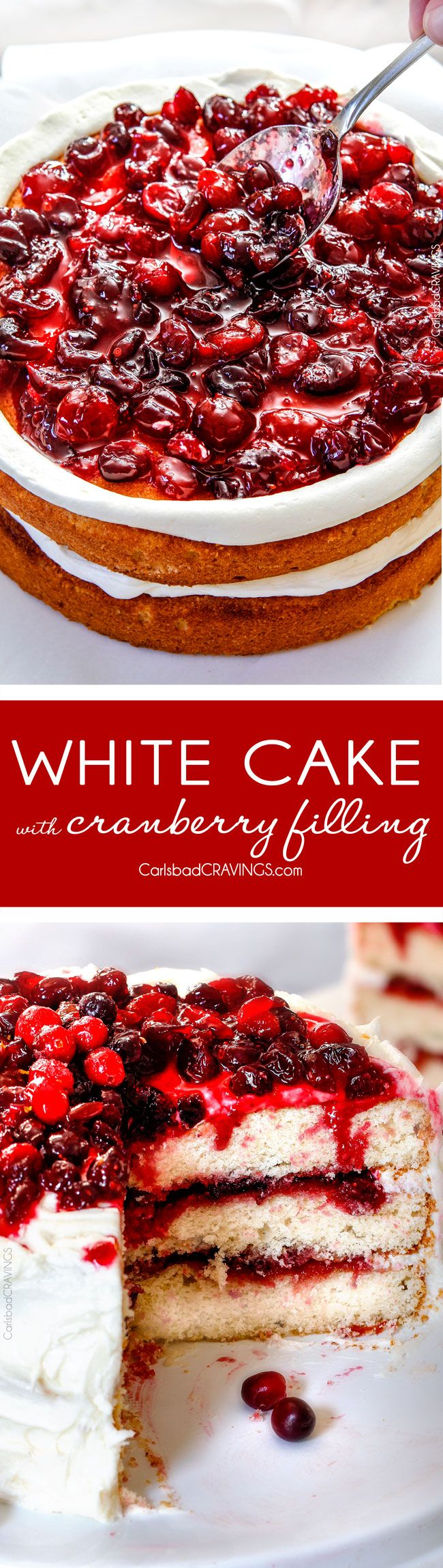 White Cake with Cranberry Filling and Buttercream Frosting – everyone always asks me for this recipe!  The moist, bakery style white cake is the BEST ever and the sweet and tangy cranberry filling is melt in your mouth delicious and Christmas festive!   via @carlsbadcraving