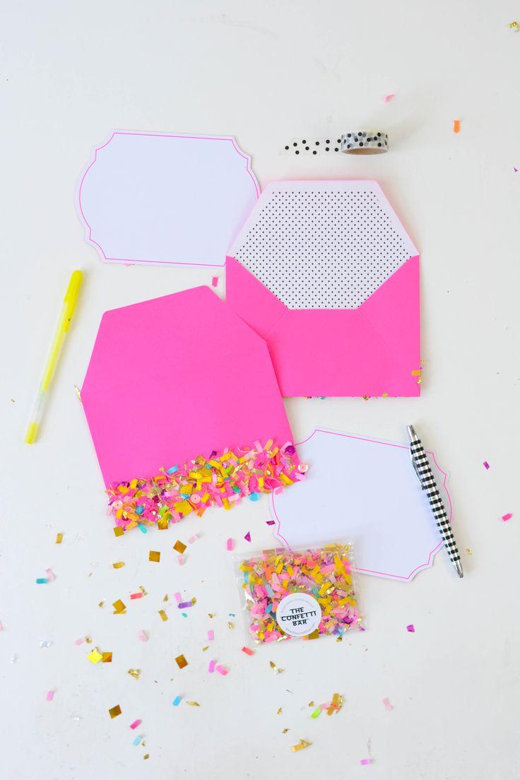 Confetti dipped DIY envelopes (Mod Podge Rocks!)
