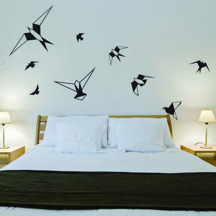 Turn your bedroom into a more playfull one with these simple but elegante origami birds origami birdsart sketchessearchingkid bedroomsartsstickersart