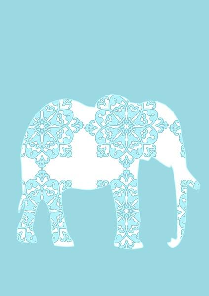 Animals Illustration - Damask Elephant Art Print