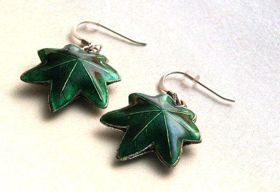 Green Maple Leaf  Sterling Silver Earrings by AriadnesCreations