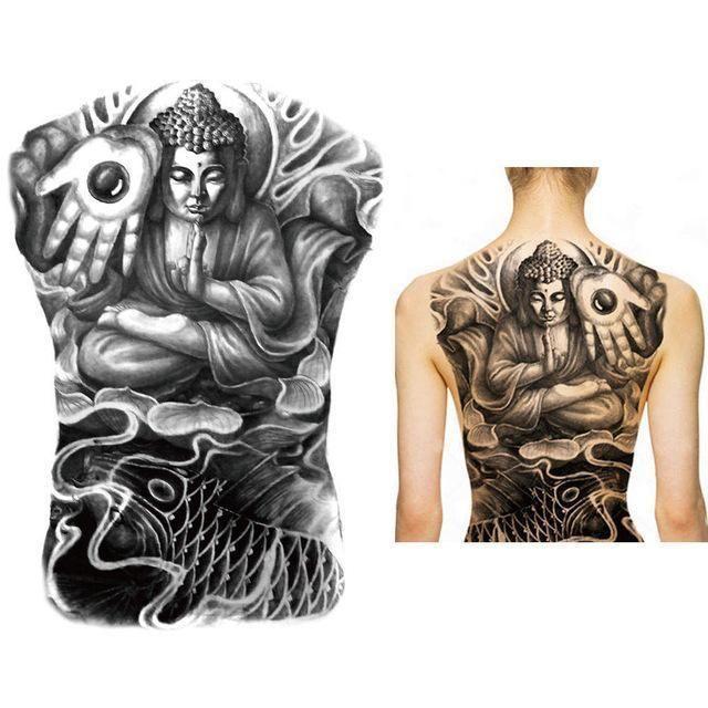 Black And White Buddha Full Back Chest Temporary Tattoo Sticker