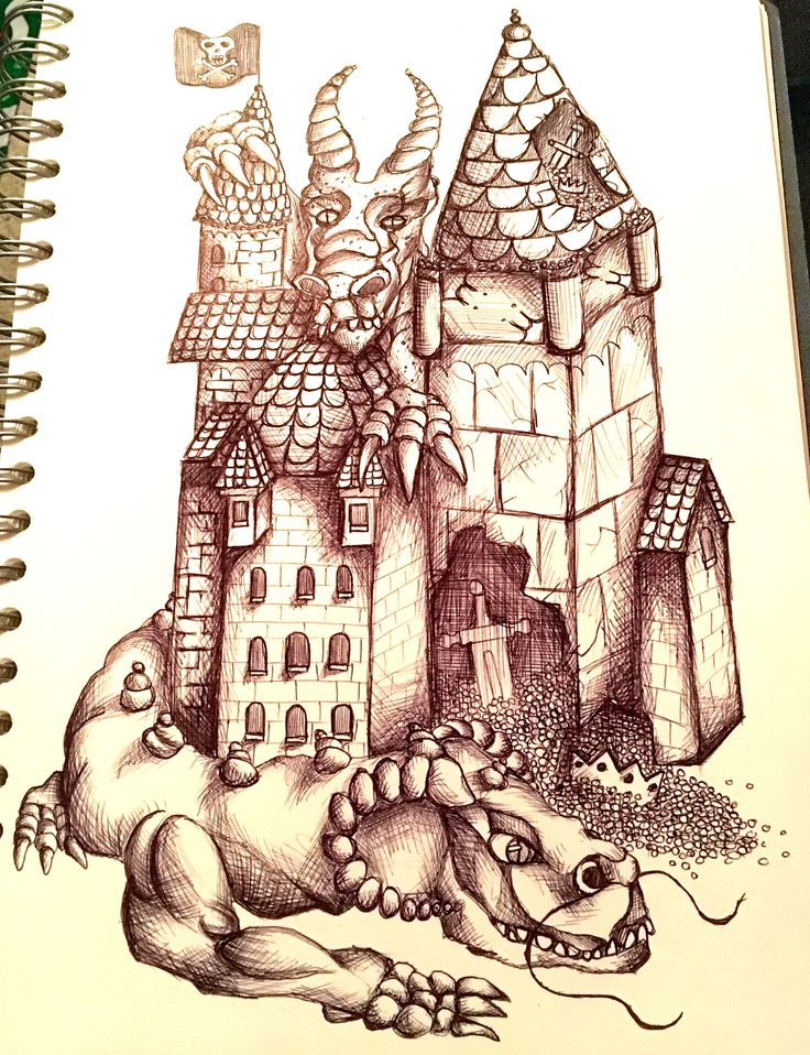 Dragons in Castle done in biro. Created by Admiral Salt