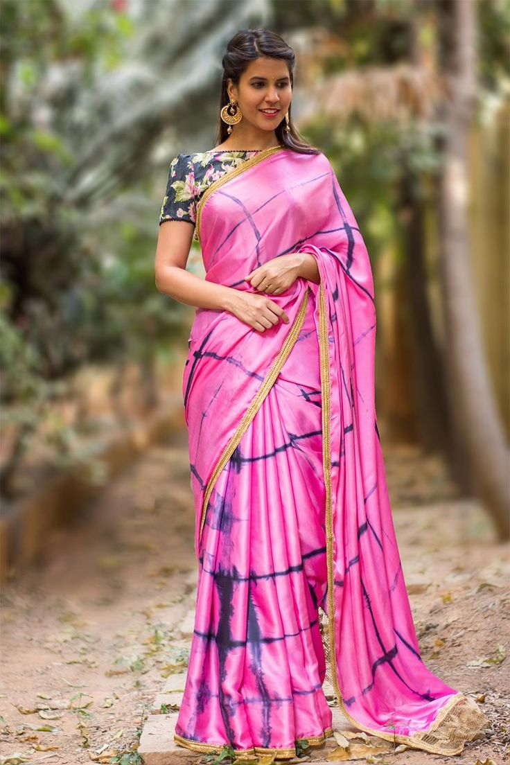 House Of Blouse Pink and blue shibori shaded satin silk saree