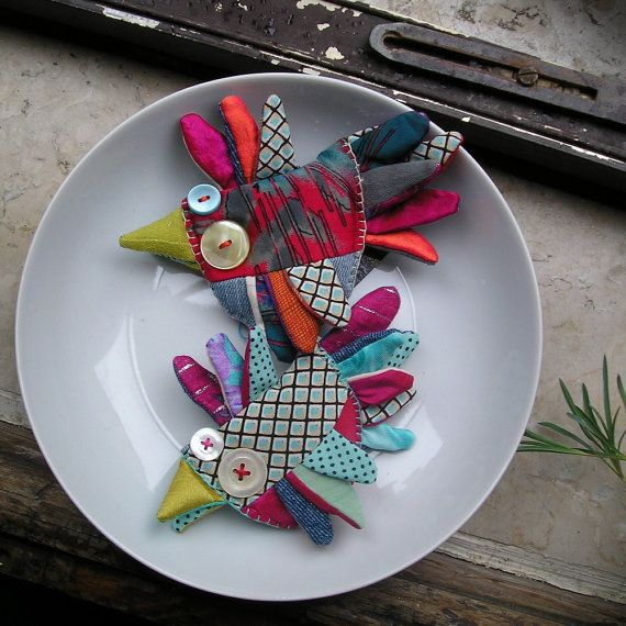 that queer bird... pajaro brooches  Custom order for by LaGomez