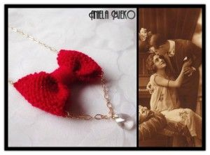 Red wool bow and a crystal swarovski pendant necklace, Vintage inspired jewelry by Aniela Mieko <3 Only $32,37USD, SAVE 10% discount with this Etsy code PINTEREST16 #Bownecklace #vintagenecklace #woolnecklace #swarosvkinecklace #swarovskipendant  #giftforher #bridemaidgift #lovenecklace #anielamieko #mtlfashion #springjewelry2016