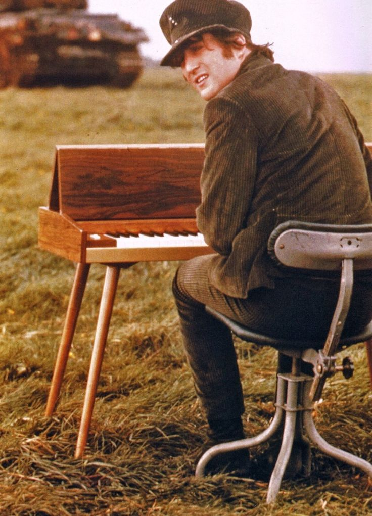"#JohnLennon on the set of ""HELP!"" at Salisbury Plain, 1965"