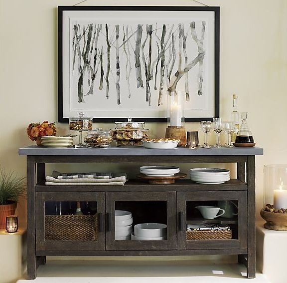 Find inspiration for choosing and decorating the perfect sideboard for your dining room. A sideboard is a beautiful accompaniment to your dining set, so it's important to coordinate well. Find ideas for sideboards that will add useful storage and serving space to your kitchen or dining room at Crate and Barrel.