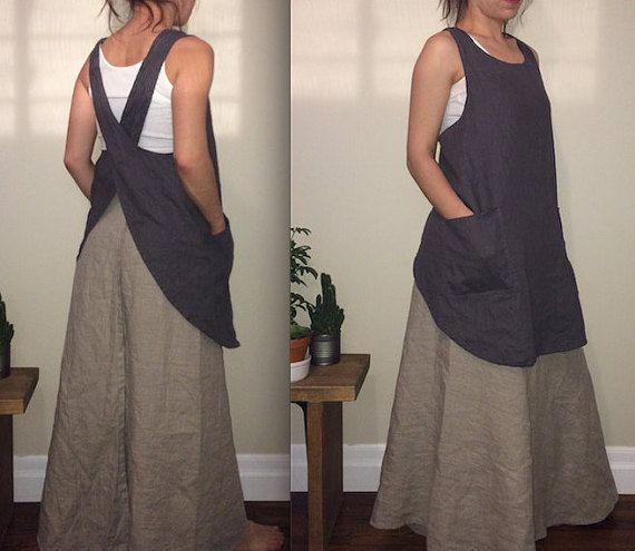 100% Linen Japanese apron. Simple. Heavier weight linen. *medium weight linen available upon request. 2 front pockets. Soft and comfortable.