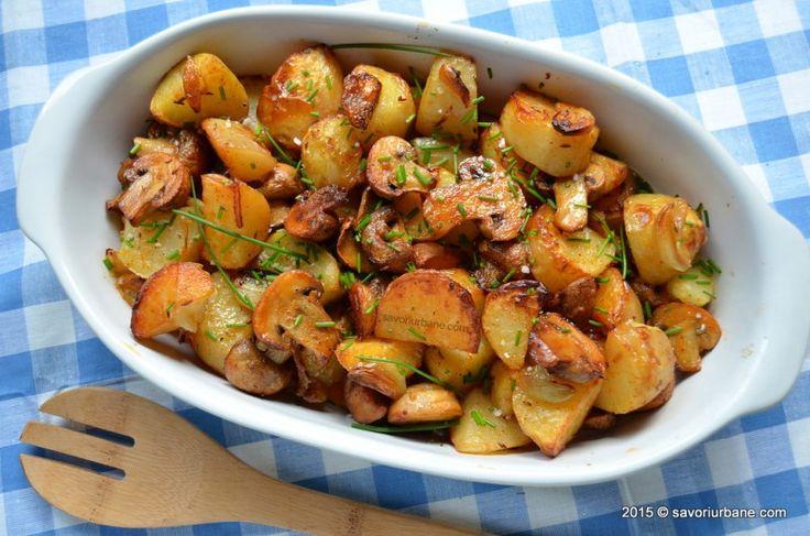 Cartofi cu ciuperci si usturoi