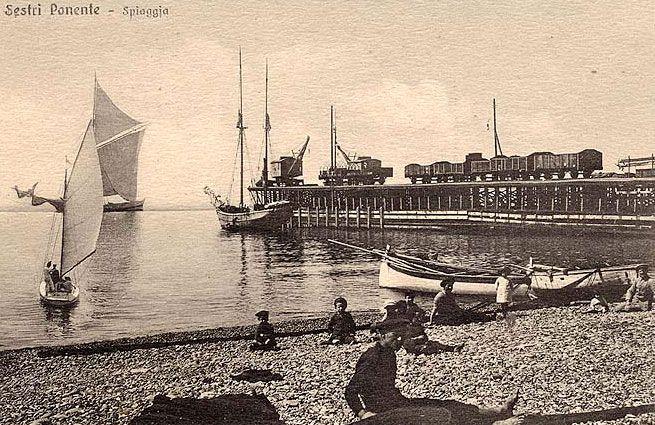 SESTRI PONENTE - La Spiaggia - FOTO STORICHE CARTOLINE ANTICHE E RICORDI DELLA LIGURIA
