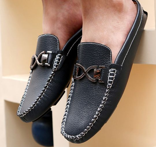 US $25 Urban Men Driving Shoes Luxury Brand Shoes Summer Men Shoes Backless Horsebit Loafers Open Backs Shoes Without Back