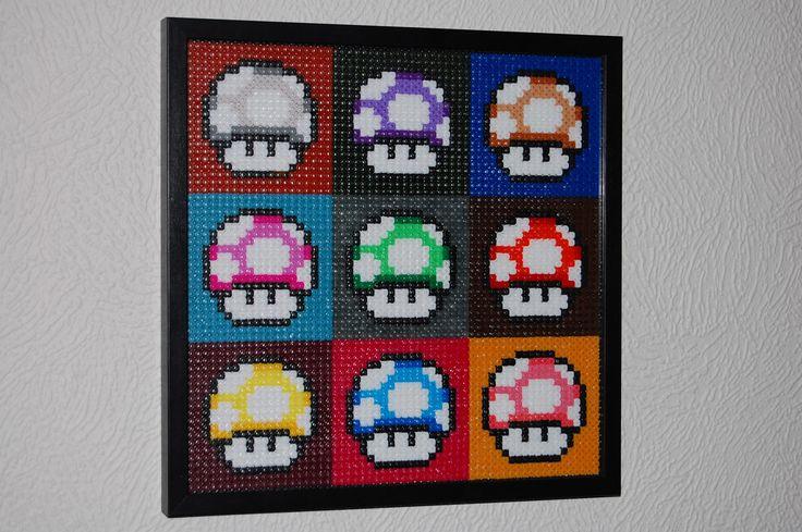 Super Mario Mushrroms Warhol - Revisited perler beads by Mina pärlplattor