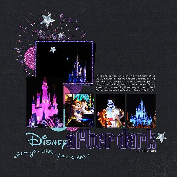 Disney after dark..... what a great page!: Scrapbook Cards, Scrapbook Disney, Night Scrapbook, Disney World Scrapbook Ideas, Scrapbook Pages Layout, Disney Layout, Scrapbookdisney, Disney Scrapbook, Scrapbook Layout