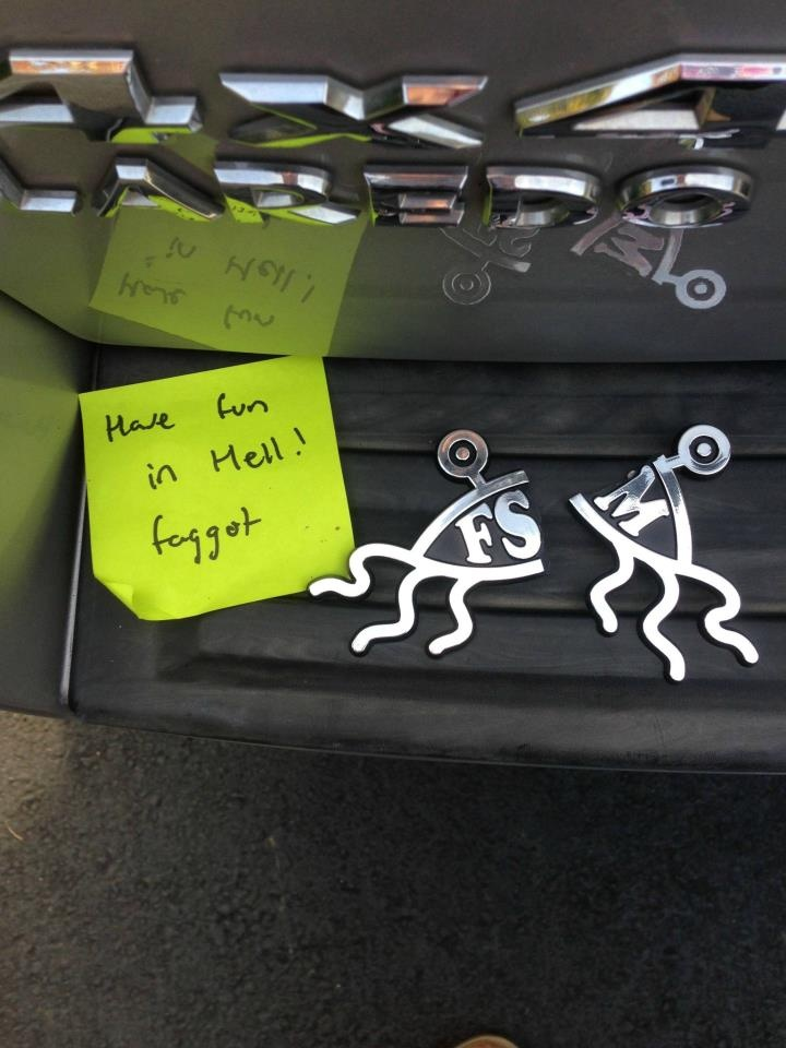 Another example of the love those Christians say they're all about . . . and for them to assume that the Flying Spaghetti Monster was in any way about the driver being homosexual . . . well, just shows how ignorant so many christians are.