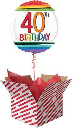Rainbow 40th Birthday Balloon in a Box