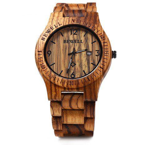Bewell ZS - W086B Wood Men Watch Analog Quartz Movement Date Display(zera wood ): Watches