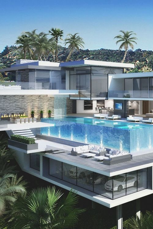 Luxurious Modern house with transparent swimming pool.