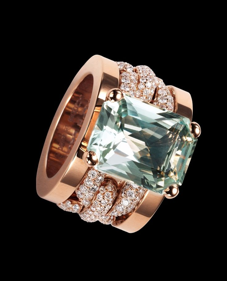 Ralph Lauren  18K rose gold ring with full-pavé diamond chain and prasiolite