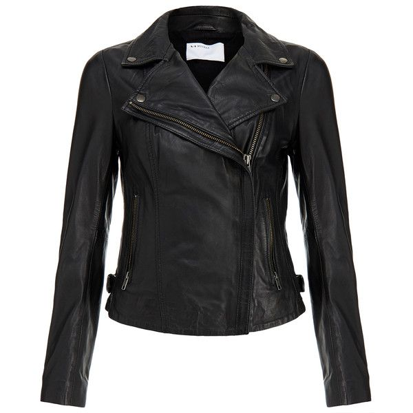 Muubaa Rosario Black Leather Biker found on Polyvore featuring outerwear, jackets, black, leather moto jacket, moto jacket, black moto jacket, real leather jacket and asymmetrical leather jacket