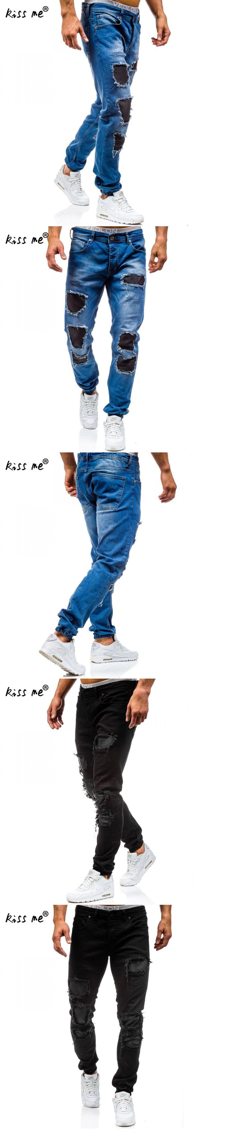Famous Brand Slim Fit Ripped Jeans Men Hi-Street Mens Distressed Denim Joggers Knee Holes Washed Destroyed Jeans
